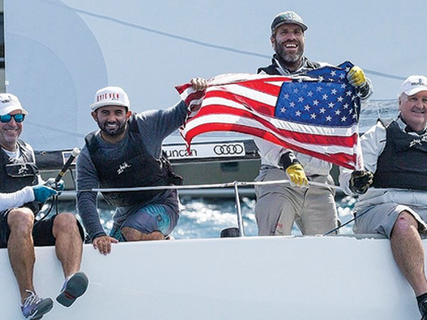 2017 Audi J/70 World Champions in Italy. (L-R) Peter Duncan,Victor de Leon, Willem Van Waay and Jud Smith on Relative Obscurity of USA