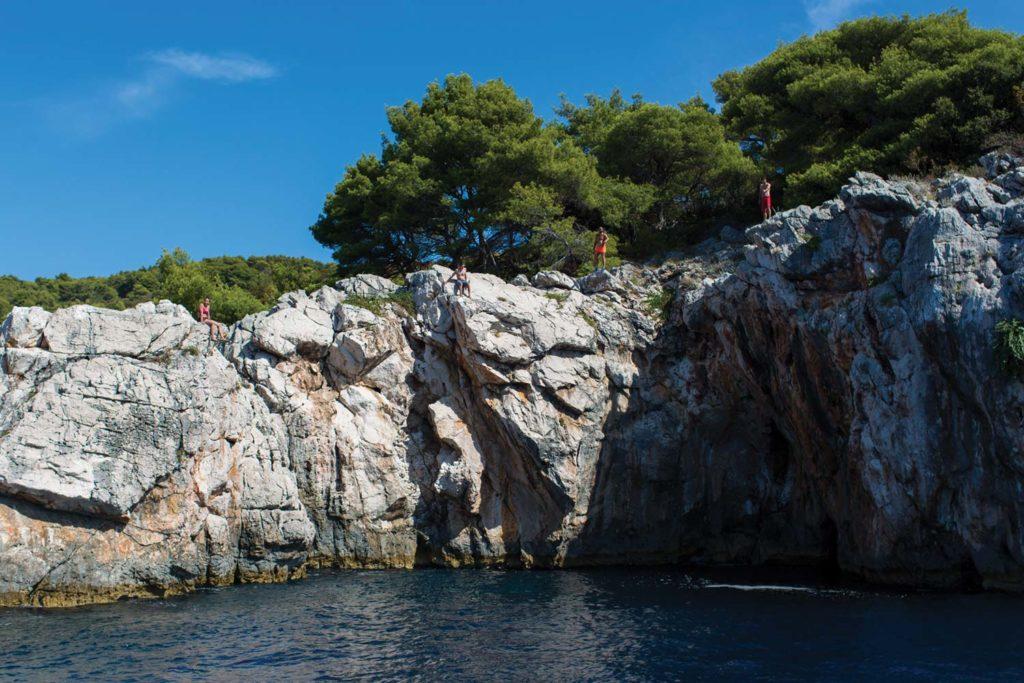 cliff diving adriatic sea